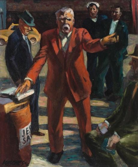 "Arnold Mesches, ""Plaza Preacher,"" 1945, oil on canvas, 30 x 24 inches. Photo courtesy of the artist."
