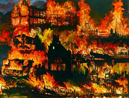 """Arnold Mesches, """"Shock and Awe 1,"""" 2011, acrylic on canvas, 44 x 66 1/2 inches, acrylic on canvas. Photo courtesy of the artist."""
