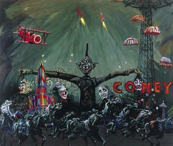 """Arnold Mesches, """"Anomie 2001: Coney,"""" 1997, acrylic on canvas, 80 x 96 inches. Photo courtesy of the artist."""