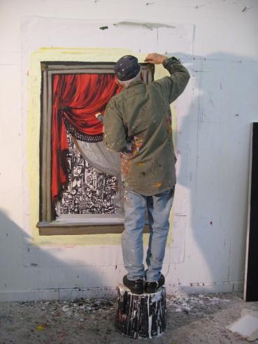 Arnold Mesches in his Florida studio. Photo courtesy of the artist. (c. 2008).