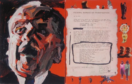 """Arnold Mesches, """"The FBI Files 56,"""" 2003, acrylic, Polaroids, and paper on canvas, 14 x 22 inches. Collection of Glenn and Trish Zelniker. Photo courtesy of the artist."""