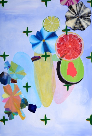 "Debra Bianculli, ""Ascorbic Acid,"" 2014, Acrylic on canvas, 36 x 52"""