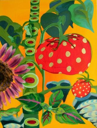 """Debra Bianculli, """"GoldenYum,"""" 2014, Acrylic on canvas, 18 x 24"""""""