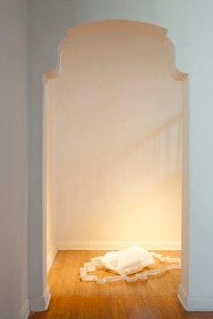 """Jane Gillespie Pryor, """"Posthumous,"""" 2014. Installation view. Plastic, 1' x 4' x 3'"""