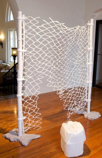 "Jane Gillespie Pryor, ""Encampment,"" 2014. Installation view. Plastic, ceramic, plaster, rabbit fur, 6.5' x 6' x 4'"