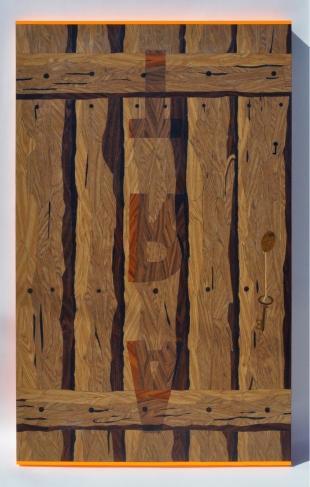 """Paulin Paris, Door """"ART"""" #1, 1, 2010, Contact paper on wood panel, 64 x 40 x 2-5/8 inches"""