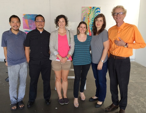Artists, l-r: Thinh Nguyen, Alan Nakagawa, Melanie Moore, Debra Bianculli, Jane Gillespie Pryor, and Paulin Paris. Hawthorne, CA, 2014. Photo courtesy Jill Thayer, Ph.D.