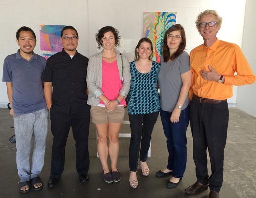 Artists, l-r: Thinh Nguyen, Alan Nakagawa, Melanie Moore, Debra Bianculli, Jane Gillespie Pryor, and Paulin Paris. Hawthorne, CA, 2014. Photo courtesy Jill Thayer, Ph.D.
