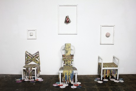 "Thinh Nguyen, ""Trinity,"" 2013. Installation view. Discarded paintings and chairs, stretcher bars, threads and yarns, dimension variable"