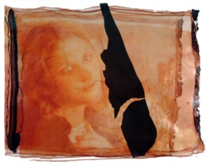 """Madonna MM,"" 2004 Polaroid emulsion transfers, collage on paper, 22x30 inches"