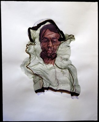 """Portrait of K,"" 2009 polaroid emulsion transfer, 20 x 15 inches"