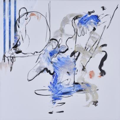 """""""Blue Diamond,"""" Acrylic on canvas, 60 x 60 inches, 2015"""