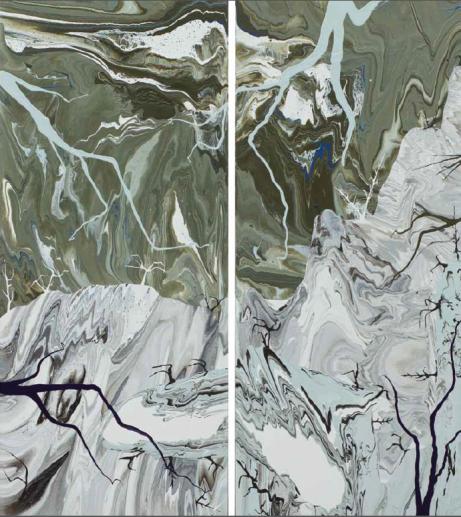 Diego Santanelli, Apocalypse zero.10M, 2016, enamel on canvas, 70 x 30 inches (each). Photo: Antonio Vanni.